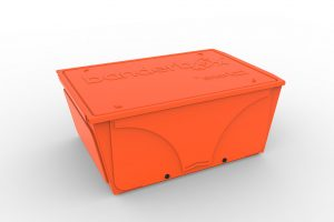 Image of Banderbox in the color Snark Orange and medium-sized. This container is a LEGO® sorting box and workstation.