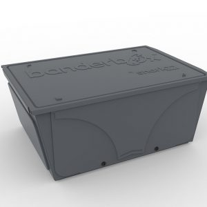 Image of Banderbox, a LEGO® sorting box. This container comes in the color Heavy Metal and is available in the size Medium.